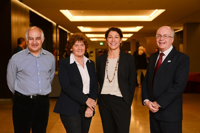 From left to right: Prof Mike Makris, Prof Angelika Batorova, Prof Flora Peyvandi, Prof Paul Giangrande