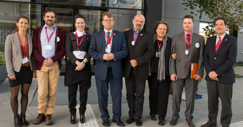 The EHC Steering Committee, from left to right Ms Naja Skouw-Rasmussen (Denmark), Mr Miguel Crato (Portugal), Ms Amanda Bok (EHC CEO), Mr Brian O'Mahony (President, Ireland), Mr Jordan Nedevski (Vice-President Finance, Bulgaria), Ms Olivia Romero-Lux (France), Dr Radoslaw Kaczmarek (Poland) and Mr Alain Weill (WFH President).